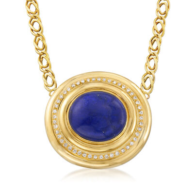 C. 1980 Vintage Lapis and 1.20 ct. t.w. Diamond Necklace in 14kt Yellow Gold, , default