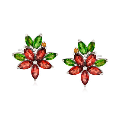 2.52 ct. t.w. Multi-Stone Flower Earrings in Sterling Silver, , default