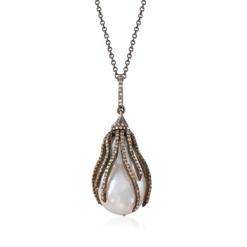 22.7x15mm Cultured Baroque Pearl and 1.20 ct. t.w. Brown Diamond Pendant Necklace in Sterling Silver, , default