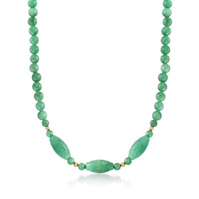 6-22mm Carved Green Jade Bead Necklace With 14kt Yellow Gold, , default
