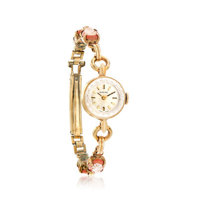 C. 1960 Vintage Women's Shell Cameo 14mm Mechanical Watch in 14kt Yellow Gold, , default