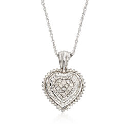 .51 ct. t.w. Baguette and Round Diamond Heart Pendant Necklace in Sterling Silver, , default