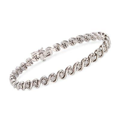 1.00 ct. t.w. Diamond San Marco Link Bracelet in Sterling Silver, , default