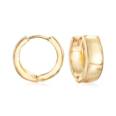 Italian 18kt Yellow Gold Huggie Hoop Earrings, , default