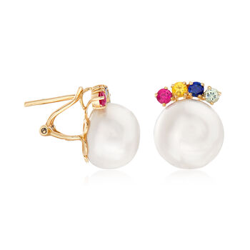 Cultured Pearl and .80 ct. t.w. Multi-Gemstone Earrings in 14kt Yellow Gold