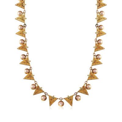 C. 1940 Vintage 14kt Two-Tone Gold Triangle Necklace, , default