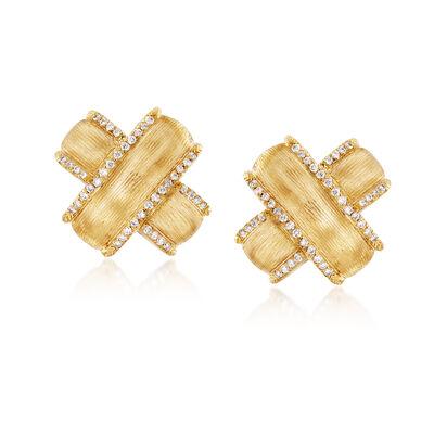 """Mazza .42 ct. t.w. Diamond """"X"""" Earrings in 14kt Yellow Gold, , default"""