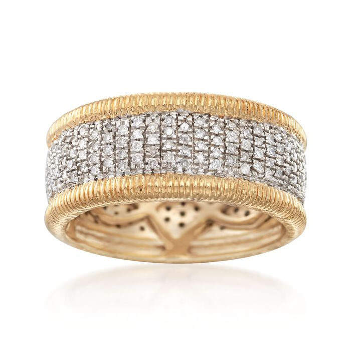 .42 ct. t.w. Pave Diamond Eternity Band in 14kt Gold Over Sterling, , default