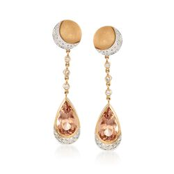 C. 2000 Vintage 15.08 ct. t.w. Imperial Topaz and .60 ct. t.w. Diamond Earrings in 14kt Yellow Gold, , default