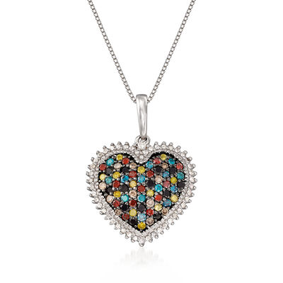 1.00 ct. t.w. Multicolored Diamond Heart Pendant Necklace in Sterling Silver