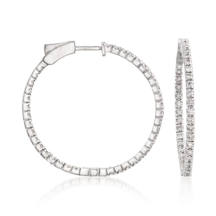 """1.50 ct. t.w. Diamond Inside-Outside Hoop Earrings in 14kt White Gold. 1 3/16"""", , default"""