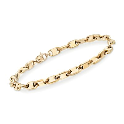 Men's 5mm 14kt Yellow Gold Oval-Link Bracelet, , default