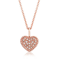 14kt Rose Gold Heart Pendant Necklace With Diamond Accents, , default