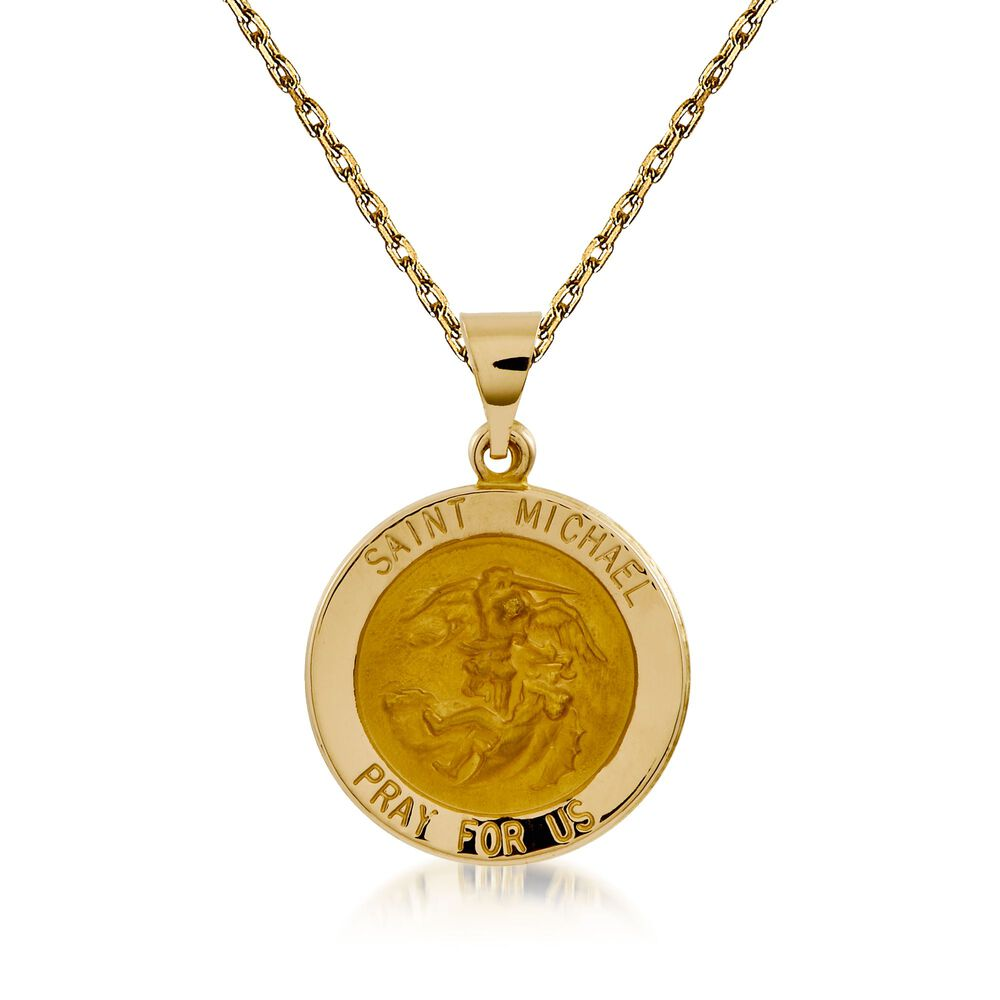 14kt yellow gold saint michael pendant necklace 18 ross simons 14kt yellow gold saint michael pendant necklace 18quot default aloadofball Choice Image