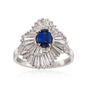 C. 1990 Vintage .90 Carat Sapphire and 2.00 ct. t.w. Diamond Ballerina Ring in Platinum. Size 9.5, , default