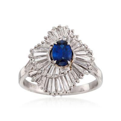 C. 1990 Vintage .90 Carat Sapphire and 2.00 ct. t.w. Diamond Ballerina Ring in Platinum , , default