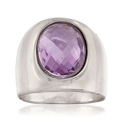 Italian 3.00 Carat Oval Amethyst Ring in Sterling Silver, , default