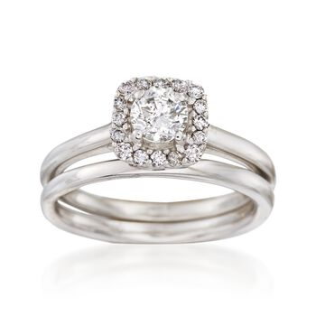 .68 ct. t.w. Diamond Bridal Set: Engagement and Wedding Rings in 14kt White Gold, , default