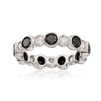 2.00 ct. t.w. Black and White Diamond Eternity Band in 14kt White Gold, , default