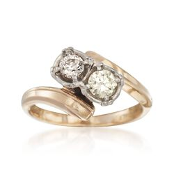 C. 1950 Vintage .50 ct. t.w. Diamond Two-Stone Bypass Ring in Platinum and 14kt Yellow Gold. Size 5.75, , default