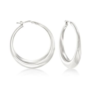 """Italian Sterling Silver Hoop Earrings. 1 5/8"""", , default"""
