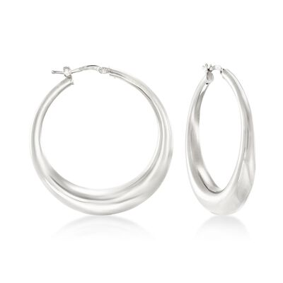 Italian Sterling Silver Hoop Earrings, , default