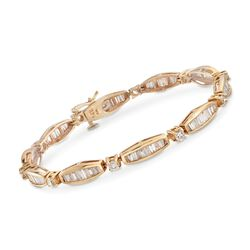 "C. 1990 Vintage 5.00 ct. t.w. Round and Baguette Diamond Bracelet in 14kt Yellow Gold. 7.5"", , default"