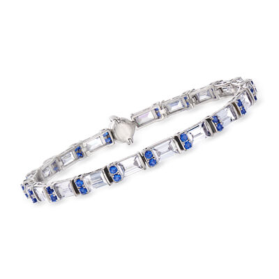 9.50 ct. t.w. CZ and 1.10 ct. t.w. Simulated Sapphire Bracelet in Sterling Silver with Magnetic Clasp