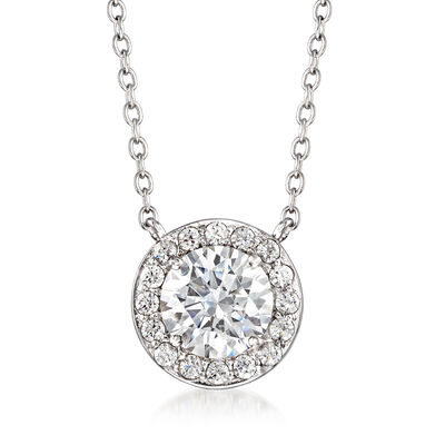 1.52 ct. t.w. CZ Halo Necklace in Sterling Silver, , default