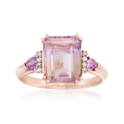 3.20 Carat Ametrine and .20 ct. t.w. Amethyst Ring with Diamond Accents in 14kt Rose Gold Over Sterling, , default