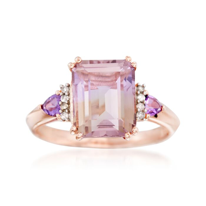 3.20 Carat Ametrine and .20 ct. t.w. Amethyst Ring with Diamond Accents in 14kt Rose Gold Over Sterling