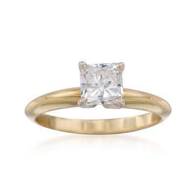 C. 1990 Vintage 1.01 Carat Diamond Solitaire Engagement Ring in 14kt Yellow Gold, , default