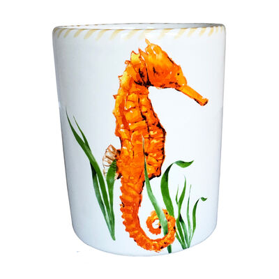 Abbiamo Tutto Seahorse Ceramic Wine Bottle/Kitchen Utensil Holder from Italy