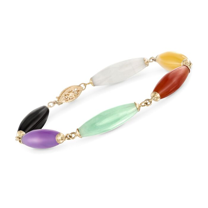 22x7mm Multicolored Jade Bead Bracelet with 14kt Yellow Gold, , default