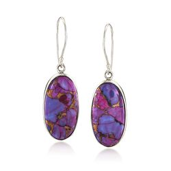 Purple Turquoise Oval Drop Earrings in Sterling Silver, , default