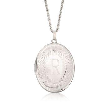"""Sterling Silver Engraved Locket Necklace. 22"""", , default"""