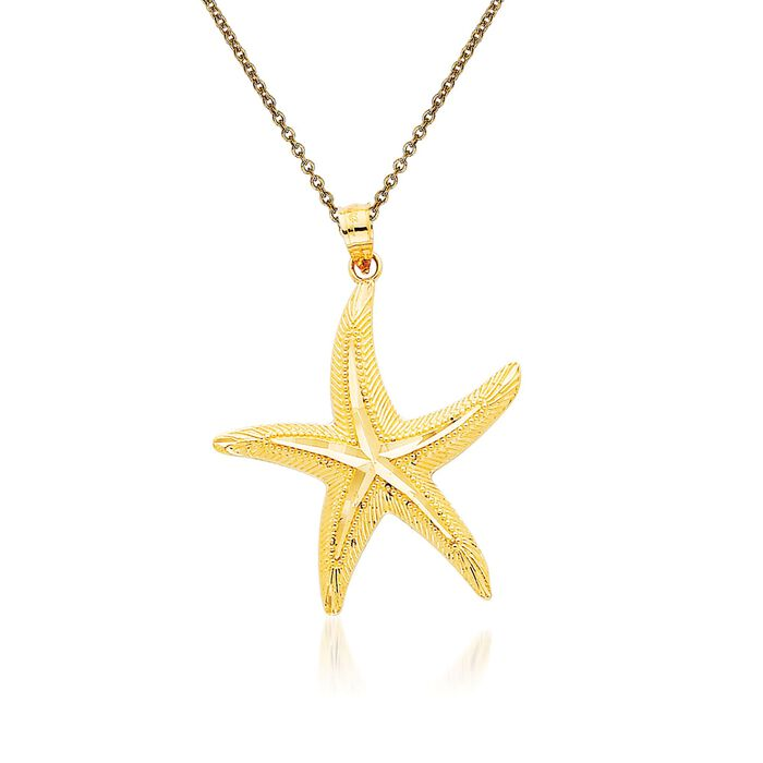 """14kt Yellow Gold Starfish Pendant Necklace. 18"""""""