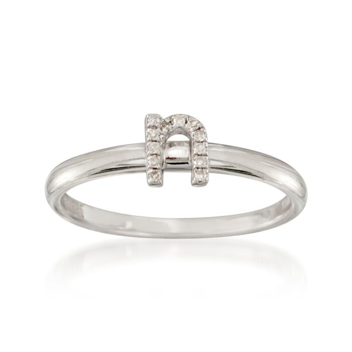 "Diamond Accent Mini Initial ""N"" Ring in Sterling Silver"