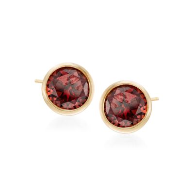 2.00 ct. t.w. Bezel-Set Garnet Stud Earrings in 14kt Yellow Gold, , default