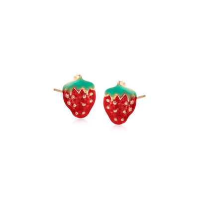 Child's Enamel Strawberry Stud Earrings in 14kt Yellow Gold, , default