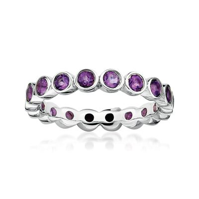 1.00 ct. t.w. Bezel-Set Amethyst Eternity Band in Sterling Silver, , default