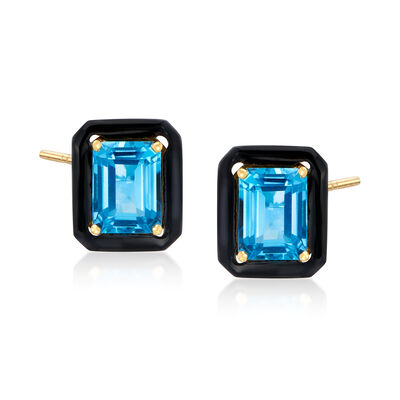 Black Onyx and 3.90 ct. t.w. Swiss Blue Topaz Earrings in 18kt Gold Over Sterling
