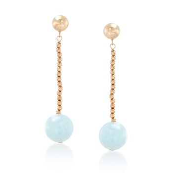3.20 ct. t.w. Aquamarine Bead Drop Earrings in 14kt Yellow Gold, , default