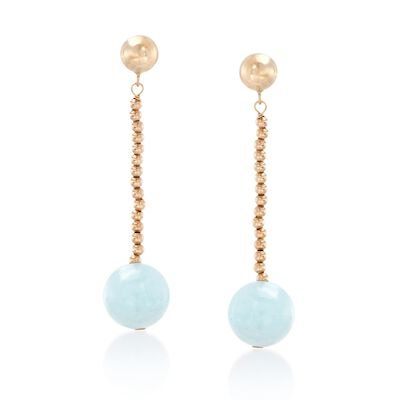 3.20 ct. t.w. Aquamarine Bead Drop Earrings in 14kt Yellow Gold , , default