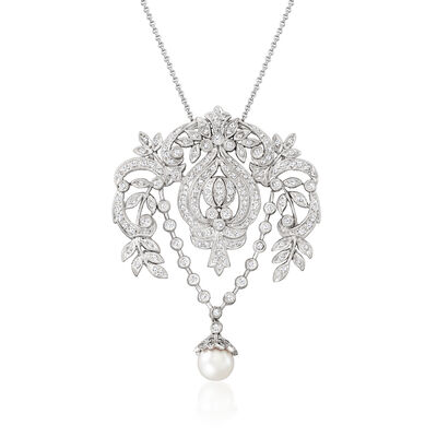 C. 1980 Vintage 7.5mm Cultured Pearl and 1.60 ct. t.w. Diamond Floral Pendant Necklace in 14kt White Gold