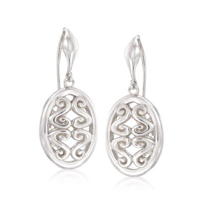 "Zina Sterling Silver ""Seville"" Open Swirl Oval Drop Earrings, , default"
