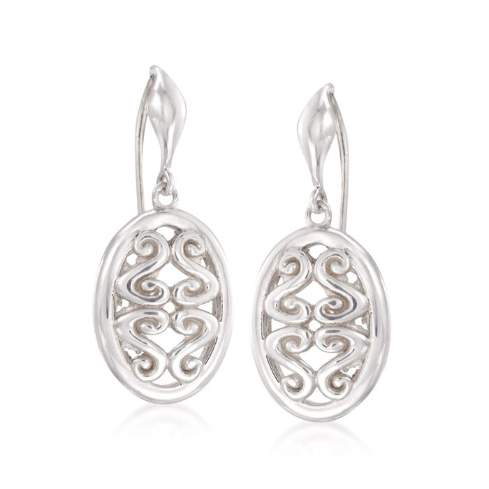 "Zina Sterling Silver ""Seville"" Open Swirl Oval Drop Earrings , , default"