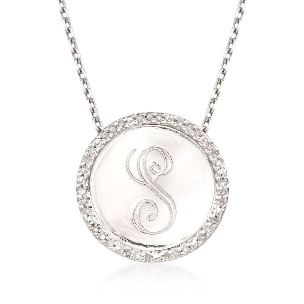 7ef02c1d2bc4c 10 ct. t.w. Diamond Single Initial Pendant Necklace in Sterling ...