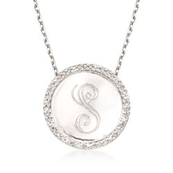 .10 ct. t.w. Diamond Single Initial Pendant Necklace in Sterling Silver, , default