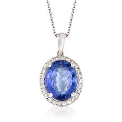 "5.75 Carat Tanzanite and .40 ct. t.w. Diamond Pendant Necklace in 14kt White Gold. 16"", , default"